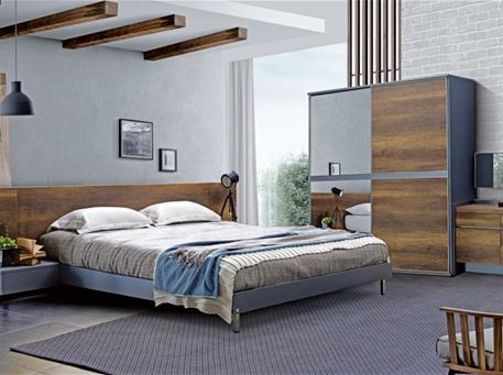ONYX - Walnut & Grey King Size Bedroom Set