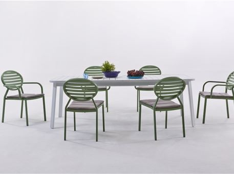 LOOP - White Outdoor Dining Table With Extension