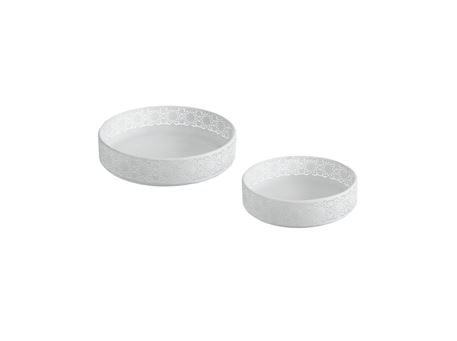 70261 - Set 2 Trays Round Metal White