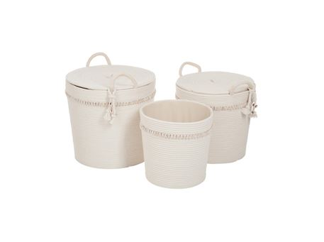 71509 - Set Of 3 Baskets Round Cotton Off White Shell Cream