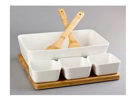HT-117B002 - Salad Bowl + 3 Bowls With Bamboo Base And 2 Forks