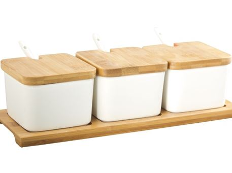 HT117B006 - 3 Bowls With Bamboo Lid And Bamboo Case