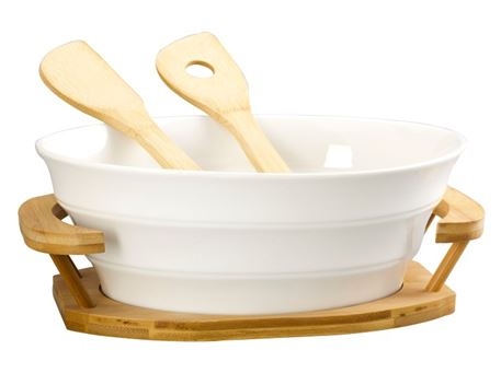 HT118E006-1 - Salad Bowl With Bamboo Tray And 2 Bamboo Forks