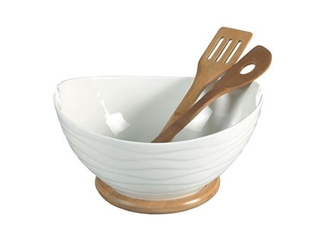 HT910768W - Salad Bowl With Bamboo Base