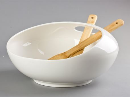 HT118x014 - Salad Bowl With 2 Bamboo Forks