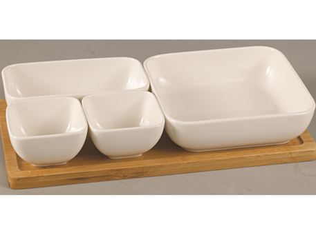 HT13101860W - 4 Pcs Bowls With Bamboo Base