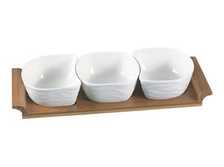 HT820135W - 3 Pcs Bowls With Bamboo Base