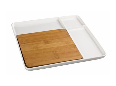 HT920872W - Square Plate With Bamboo Board