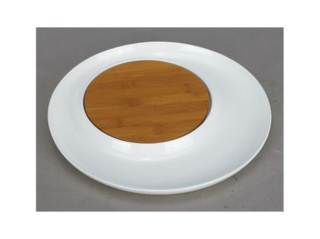 HT10101082W - Round Plate With Bamboo Board