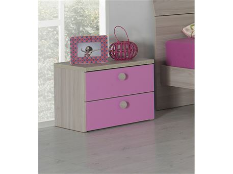 YANG-PARIS - Light Oak Night Table With Pink Drawers