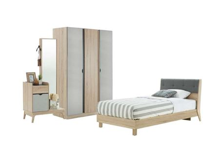 BENTE - Grey Single Bedroom Set