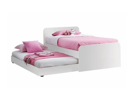 KITTY - White Single Bed With Drawer Bed