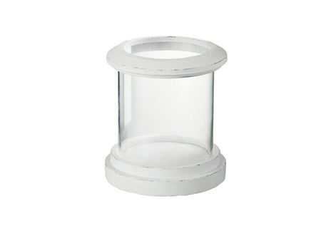 56024/25 - Hurricane Ceramic/Glass Mat White Candle Holder