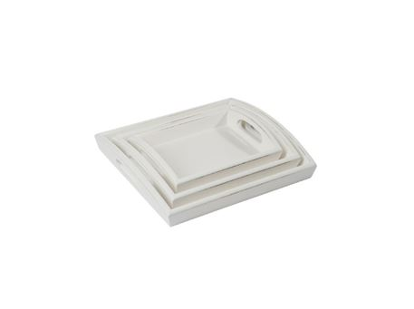 68202 - Set 3 Tray Rectangular Wood White