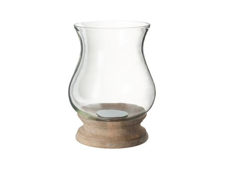 68842 - Candle Holder Hurricane Chloe Glass/Wood Natural
