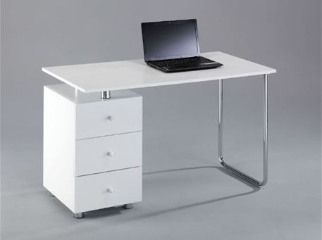 VOTTO - Simple White Home Office Desk + 3 Drawers Cabinet
