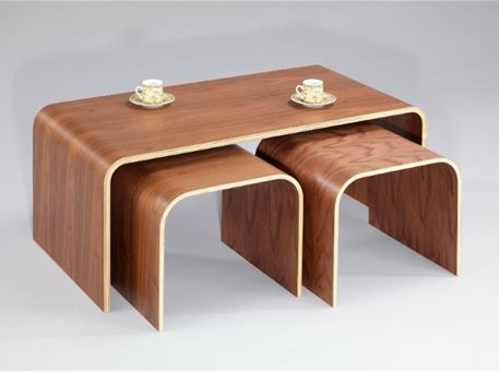 BALLIANA - Center Table, Walnut Wood, Set Of 3 Nesting Tables