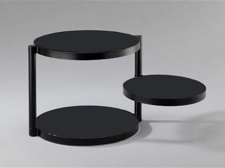 FERILLI - Round 2 Levels Side Table With Glass Top