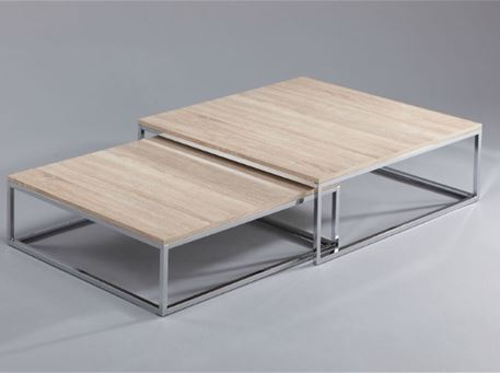 LETICIA -  Center Table, Chrome Base, Oak Wood Top