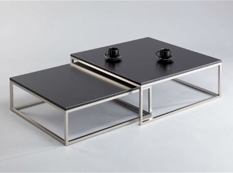 MAURIZIO - Center Table, Chrome Base, Black Wood Top, Set Of 2 Nesting Tables