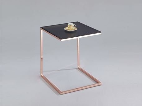 CHEETOS - Pink Gold Frame With Black Glass Top Side Table