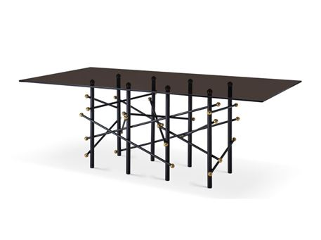 ANTON - Modern Black Glass Dining Table