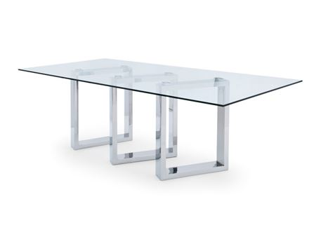 CALVIN - Modern Clear Glass Dining Table Set