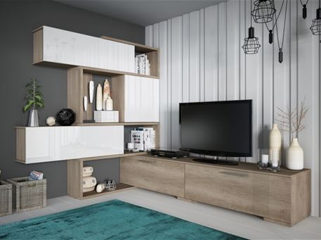 4K-8016 - Oak & White Tv Cabinet