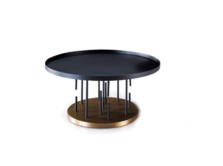 C17047 - Round Black And Gold Center Table