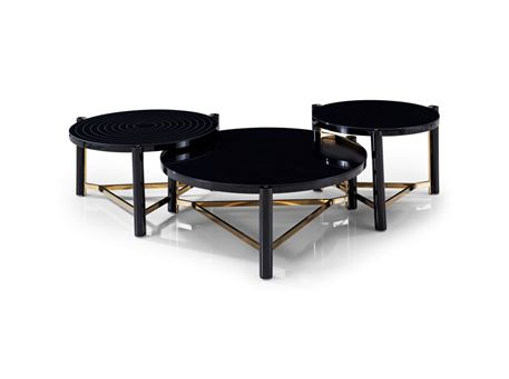 C17085ABC - Round Black Glass Center Tables
