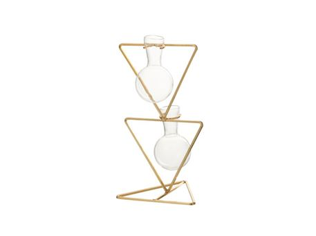 80336 - Vases 3 Triangle Metal/Glass Gold