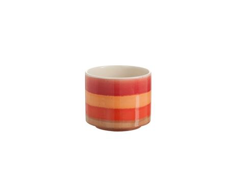 82632 - Cachepot Stripes Ceramic Red/Orange Medium