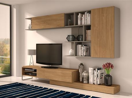 KANSAS - Modern Oak And Grey Tv Cabinet