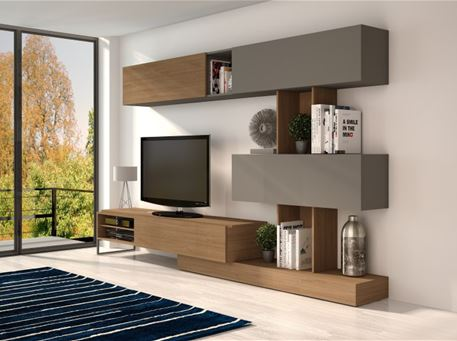 TANNER-1051 - Modern Oak And Grey Tv Cabinet.