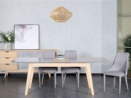 LAYTON - Compact Grey & Natural Dining Room